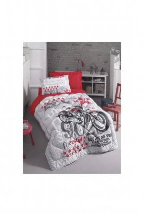 طقم غطاء سرير اطفال ولادي مع رسمة دراجة نارية
