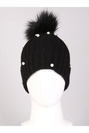قبعة نسائية صوف مزينة بالؤلؤ