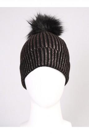قبعة نسائية صوف مع كرة فرو