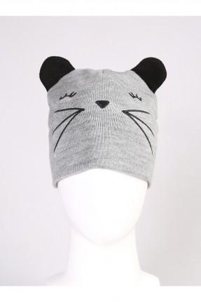 قبعة نسائية صوف مع رسمة قط