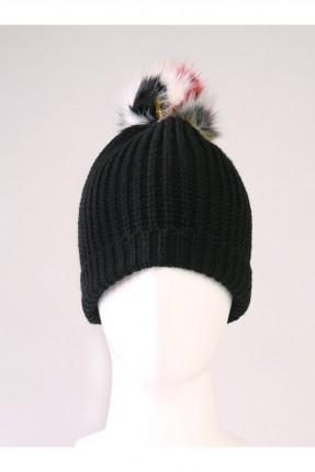 قبعة نسائية صوف مع كرة فرو ملونة