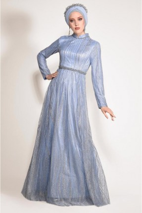 فستان رسمي للمحجبات مزين ترتر