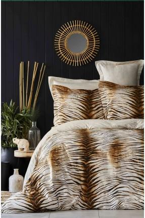 طقم غطاء سرير مزدوج مزخرف جلد النمر