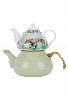 طقم ابريق شاي تركي مزين برسمة نمر