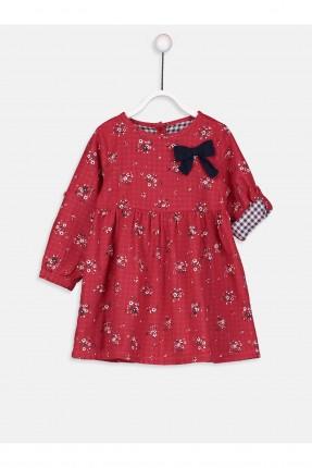 فستان بيبي بناتي مورد مزين بفيونكة