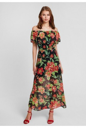 فستان سبور مزهر مع كشكش