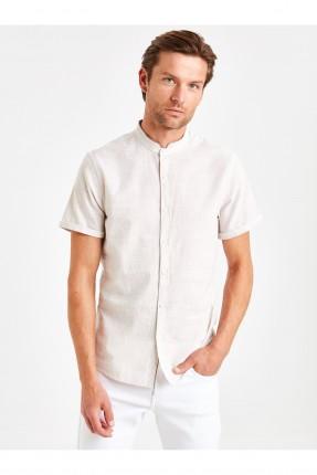 قميص رجالي نصف كم بياقة دائرية