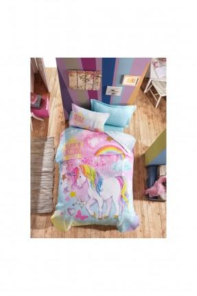 طقم غطاء سرير اطفال مبطن برسمة يونيكورن