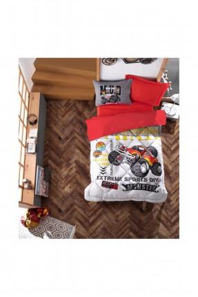 طقم لحاف مع غطاء سرير اطفال مزين برسمة سيارات