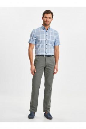 قميص رجالي نصف كم بنقشة مربعات
