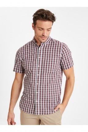 قميص رجالي كاروهات نصف كم