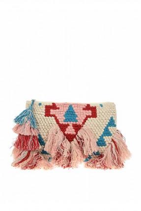 حقيبة يد نسائية مزينة بشراشيب ملونة
