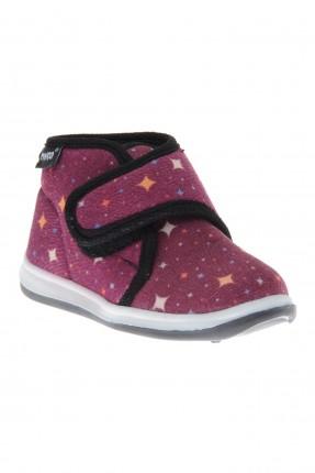 حذاء بيبي بناتي بنقشة نجوم مع لاصق
