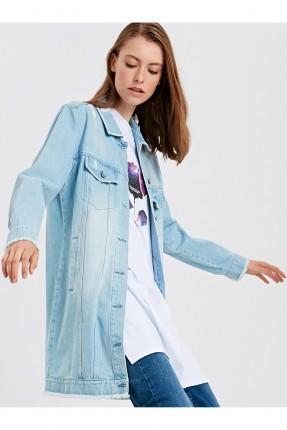 جاكيت سبور نسائي جينز بجيوب امامية
