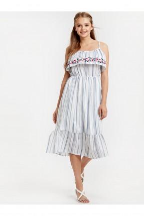 فستان سبور مخطط منقوش ورد