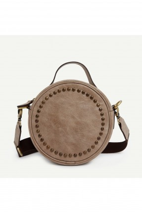 حقيبة يد نسائية دائرية مزينة بقطع معدنية