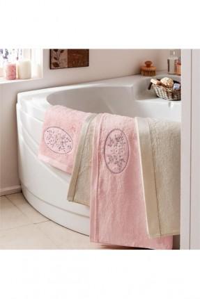 طقم منشفة حمام منقوشة ورد
