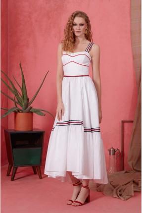 فستان رسمي طويل مزين بخطوط