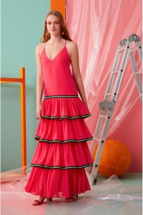 فستان رسمي طويل مكشكش