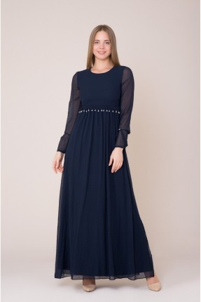 فستان رسمي طويل باكمام شيفون
