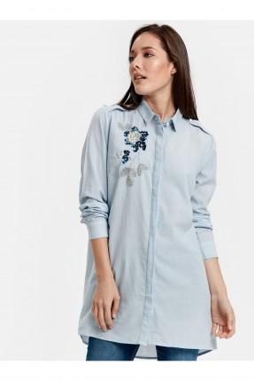 قميص نسائي مزين بوردة من الترتر