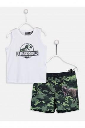 تيشرت سباحة اطفال ولادي مع شورت بطبعة ديناصور