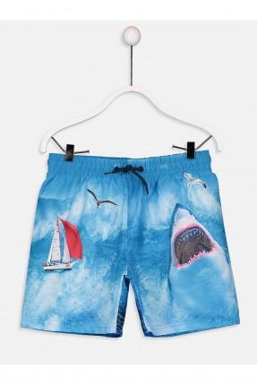 شورت سباحة اطفال ولادي مع طبعة القرش