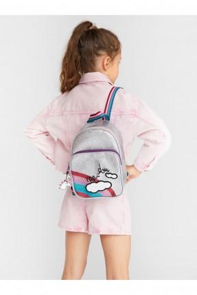 حقيبة ظهر مدرسية اطفال بناتي مع طبعة غيمة وقوس قزح