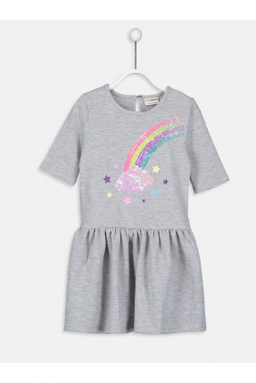 فستان اطفال بناتي مع طبعة قوس قزح