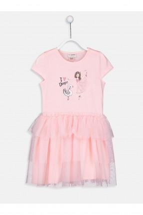 فستان اطفال بناتي مع طبعة بنت وبطة