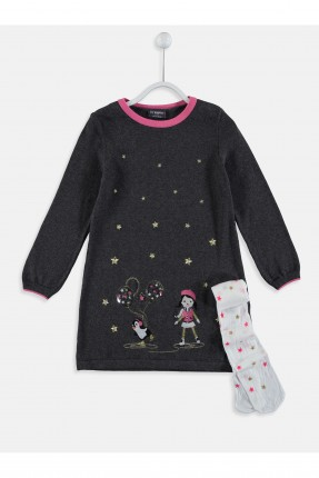 فستان اطفال بناتي مع طبعة بنت