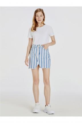 تنورة قصيرة جينز مخططة