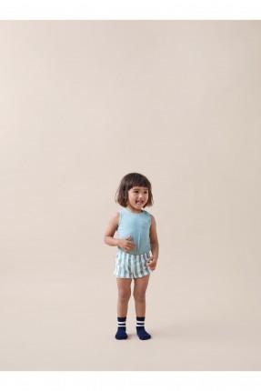 افرول اطفال بناتي مع شورت مقلم