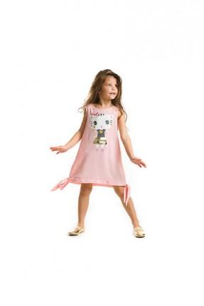 فستان اطفال بناتي مزين برسمة قطة