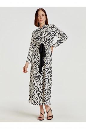 فستان سبور طويل منقوش زيبرا