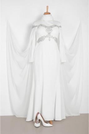 فستان رسمي طويل مزخرف مزين بستراس