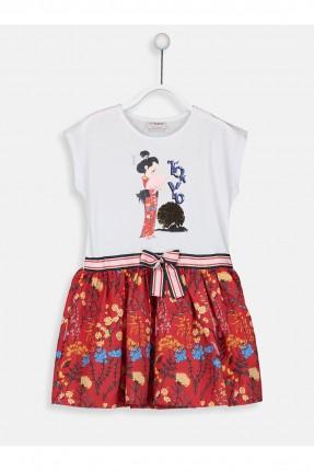 فستان اطفال بناتي مع طبعة بنت يابانية