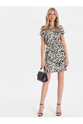 فستان سبور قصير منقوش زيبرا