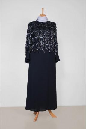 فستان رسمي مزين بشراشيب ستراس