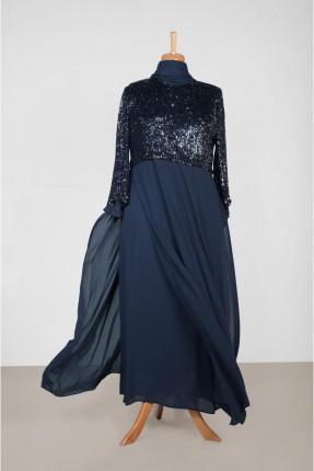 فستان رسمي طويل مزين بالترتر