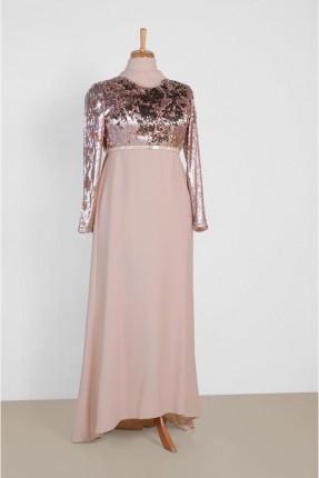 فستان رسمي طويل بصدرية مزينة بالترتر