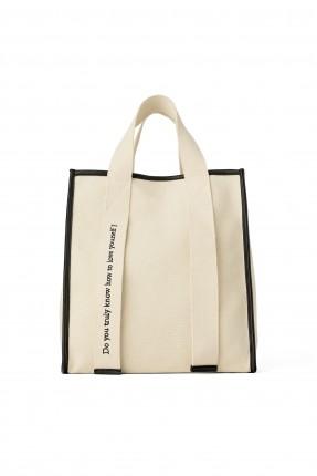 حقيبة يد نسائية مع طبعة كتابة