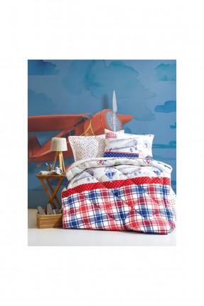 طقم لحاف سرير فردي كاروهات
