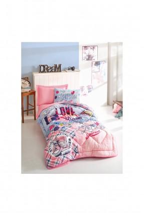 طقم لحاف سرير فردي مزين بكتابات