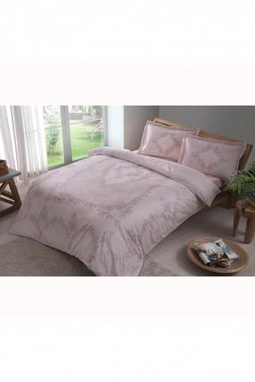 طقم غطاء سرير مزدوج مزين بخطوط موردة