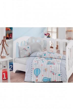 طقم غطاء سرير بيبي مزين برسمة منطاد