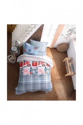 طقم غطاء سرير فردي مبطن كاروهات