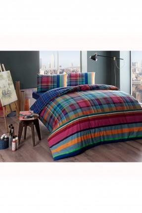 طقم غطاء سرير مزدوج كاروهات ملون
