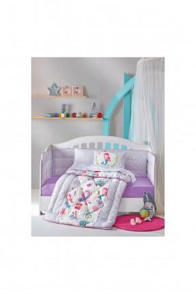 طقم لحاف سرير بيبي مزين برسومات
