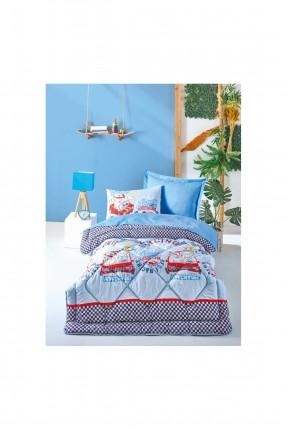 طقم لحاف سرير فردي مربعات